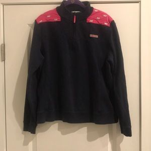 Vineyard Vines navy and pink Shep shirt